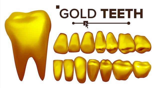 Иллюстрация золотых зубов Premium векторы