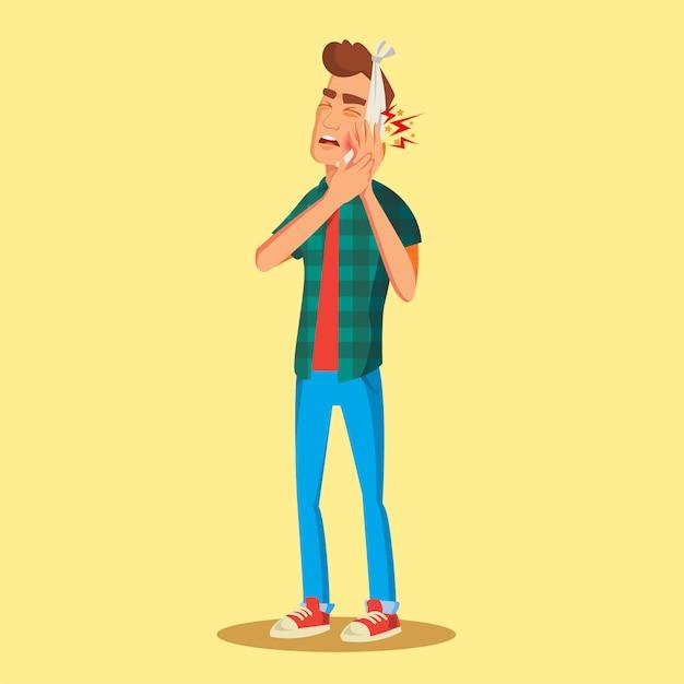 Человек с зубной болью Premium векторы