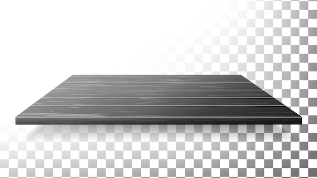 暗い木製のテーブルトップ、床、壁の棚 Premiumベクター