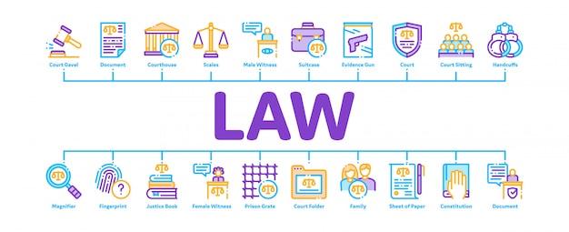 法と判決の最小限のインフォグラフィックバナー Premiumベクター