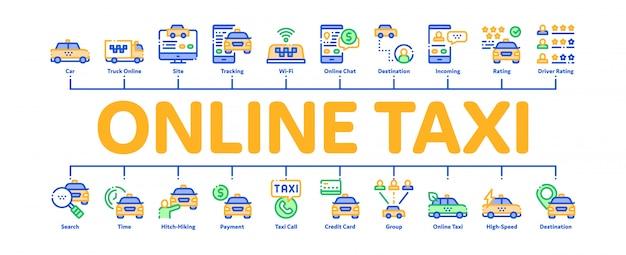 オンラインタクシー最小限のインフォグラフィックバナー Premiumベクター