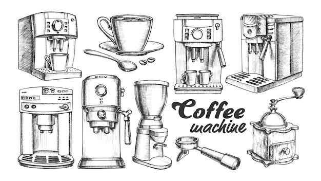 Кофемашина, держатель и чашка ретро набор Premium векторы