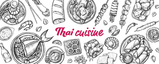 Традиционная тайская кухня монохромный Premium векторы