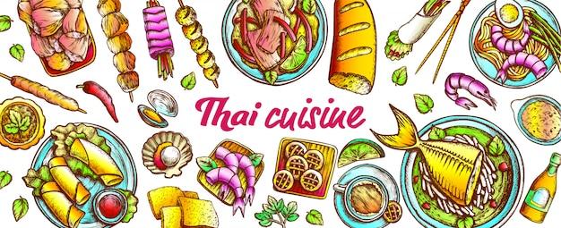Традиционный тайский кухонный гарнитур Premium векторы