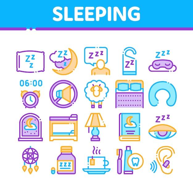 睡眠時間デバイスコレクションのアイコンを設定 Premiumベクター
