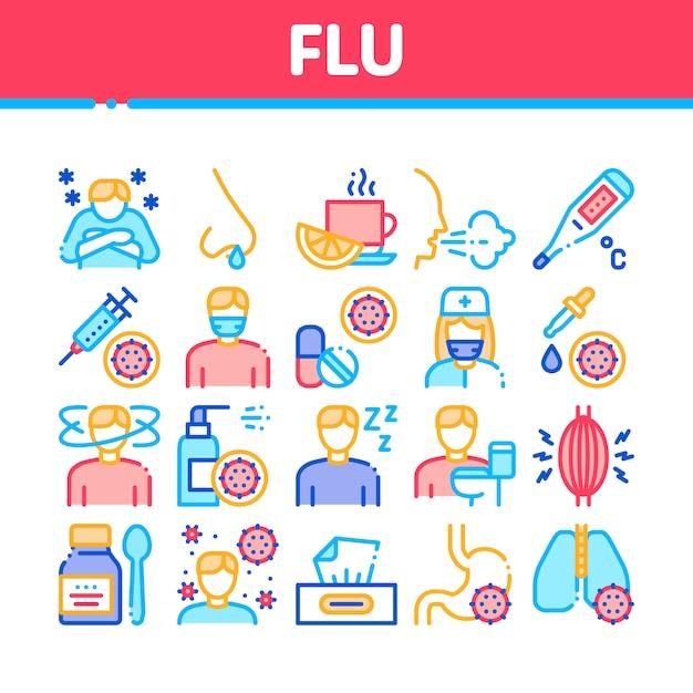 Набор иконок медицинской коллекции симптомов гриппа Premium векторы