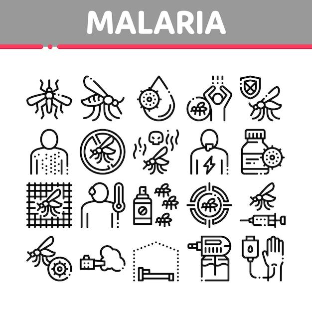 Набор иконок коллекции малярии болезнь денге Premium векторы
