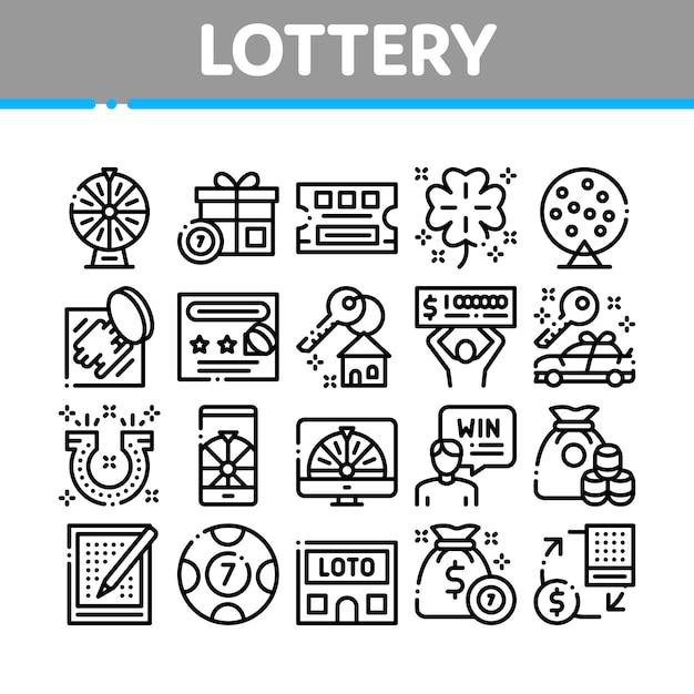 Набор иконок коллекции лотереи азартных игр Premium векторы