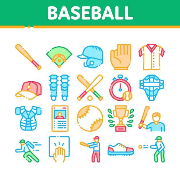 Набор иконок коллекции инструментов игры в бейсбол Premium векторы