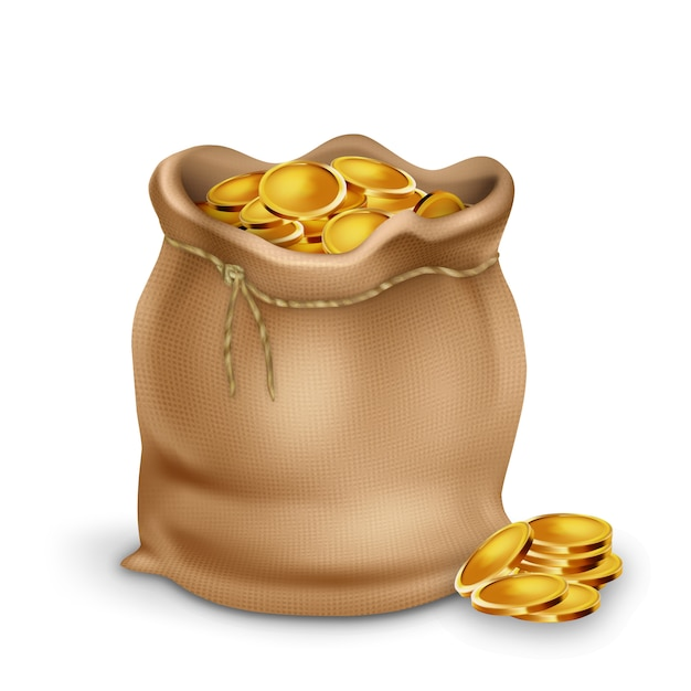 Золотая монета в винтажном текстильном сумочке Premium векторы