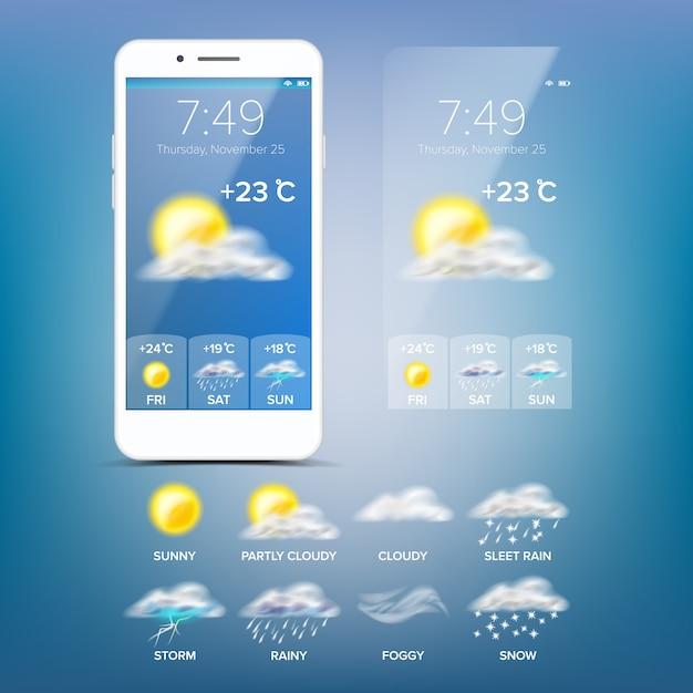 天気予報アプリ Premiumベクター