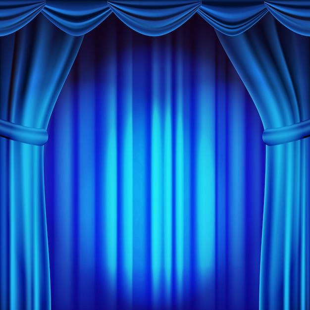 ブルーシアターカーテンの背景。劇場、オペラまたは映画のシーンの背景。空のシルクステージ、青いシーン。リアルなイラスト Premiumベクター