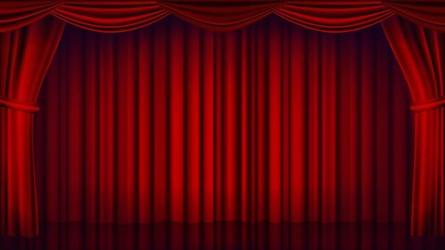 レッドシアターカーテンの背景。劇場、オペラまたは映画館クローズドシーンの背景。リアルな赤いドレープの図 Premiumベクター