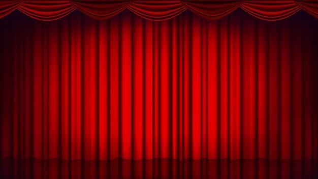 レッドシアターカーテンの背景。劇場、オペラまたは映画の空のシルクステージの背景、赤のシーン。リアルなイラスト Premiumベクター