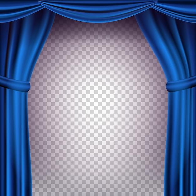 ブルーシアターカーテンの背景。コンサート、パーティー、劇場、ダンスのテンプレートのための透明な背景。リアルなイラスト Premiumベクター