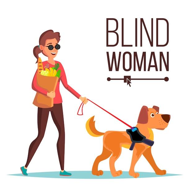 盲目の女性のベクトル。ペットの犬同伴者。サングラスと盲導犬で盲目の女性が歩きます。孤立した漫画のキャラクターのイラスト Premiumベクター