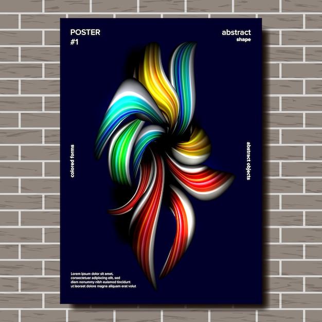 抽象的な形のポスター Premiumベクター