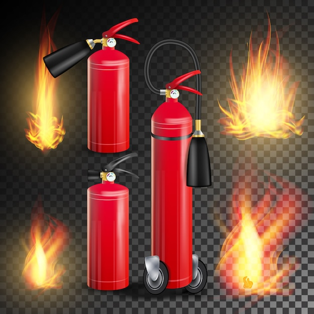 消火器のベクトル。燃える炎と金属の光沢現実的な赤い消火器。透明イラスト Premiumベクター