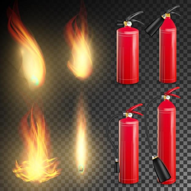 赤い消火器ベクトル。火の炎のサイン。透明な背景イラストの分離 Premiumベクター