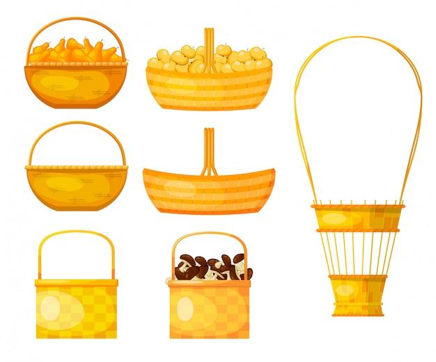 柳の小枝の黄色のバスケットのセット。 Premiumベクター