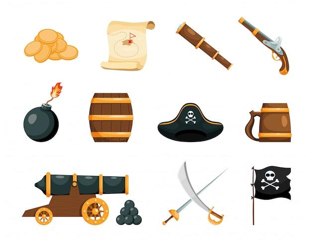 海賊ゲームの明るいオブジェクト Premiumベクター