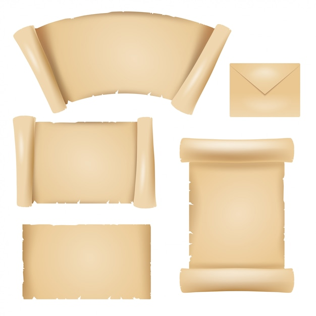 Цветное изображение элементов дизайна старого папируса Premium векторы