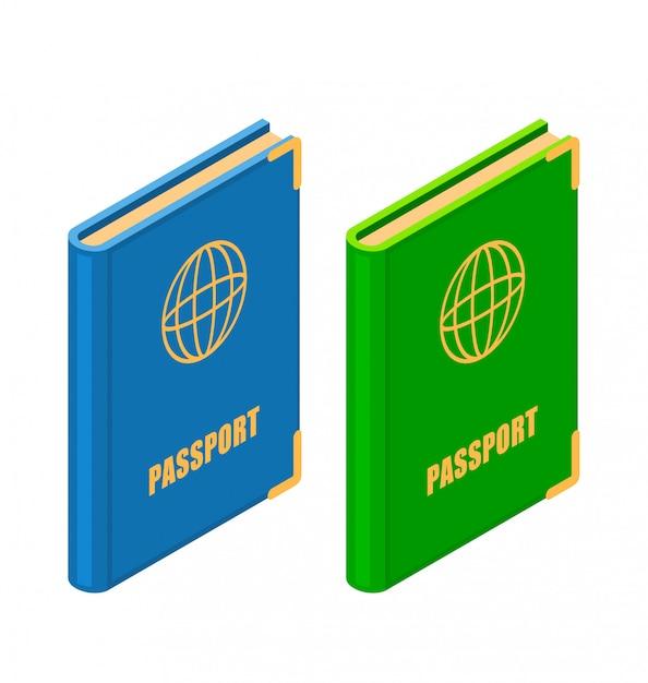 Два паспорта в изометрическом стиле Premium векторы