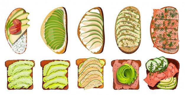 Набор тостов с лососем Premium векторы