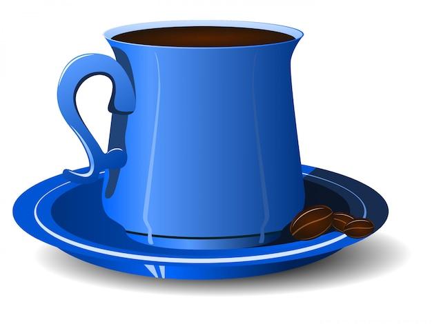 大皿にコーヒー豆と青いカップ Premiumベクター