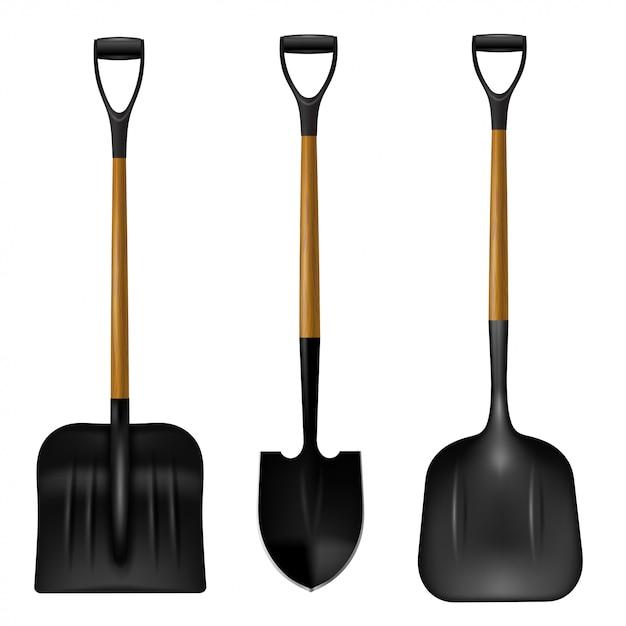 Набор лопаты на белом фоне. Premium векторы