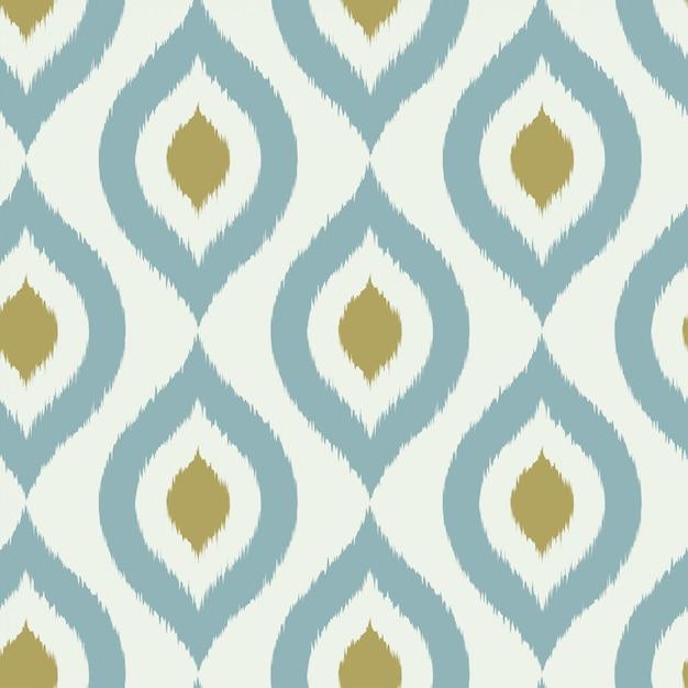 幾何学的なレトロなイカット部族のシームレスパターン Premiumベクター