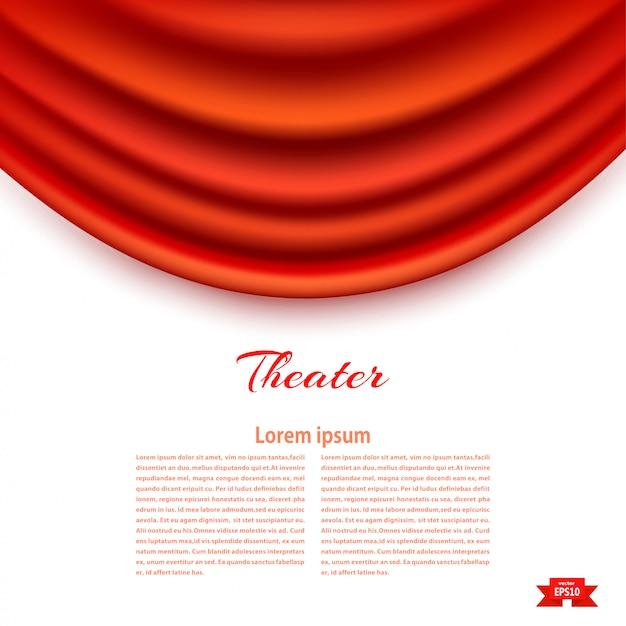 演劇パドゥガ赤劇場の幕と白い旗。 Premiumベクター