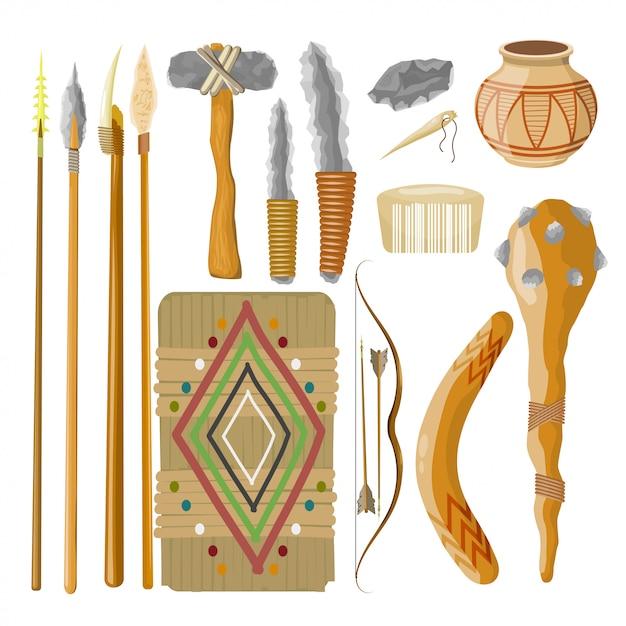 Большой набор предметов древних людей. доисторические объекты. векторная иллюстрация Premium векторы