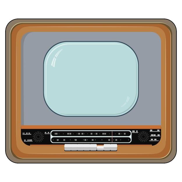 木製ケース入りの古いテレビのベクトルイラスト Premiumベクター