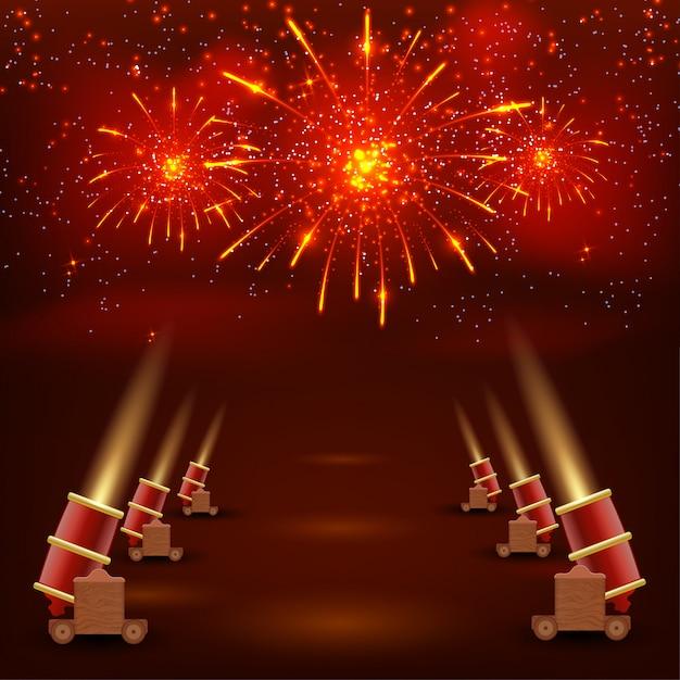 Фестиваль красный фон. красный праздничный фон со стрельбой из пушек и ярко цветные конфетти. векторная иллюстрация Premium векторы