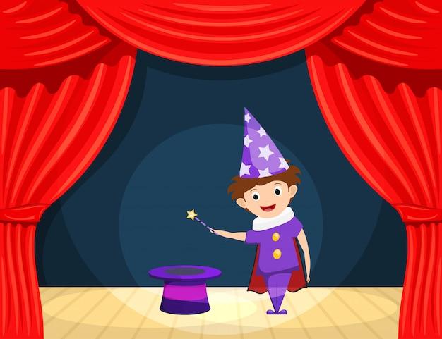 ステージ上の若い魔術師。子供たちのパフォーマンス魔法の杖と魔法使いの役割を演じるステージ上の円柱を持つ小さな俳優。 Premiumベクター