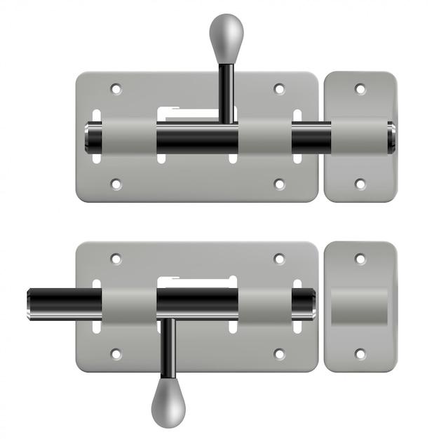 Открытые и закрытые металлические защелки на белом Premium векторы
