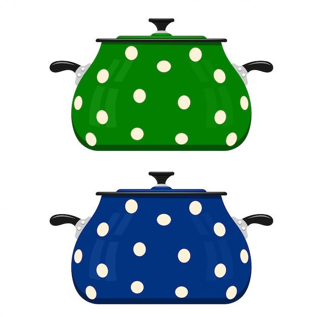 緑と青の漫画鍋。台所用品 Premiumベクター