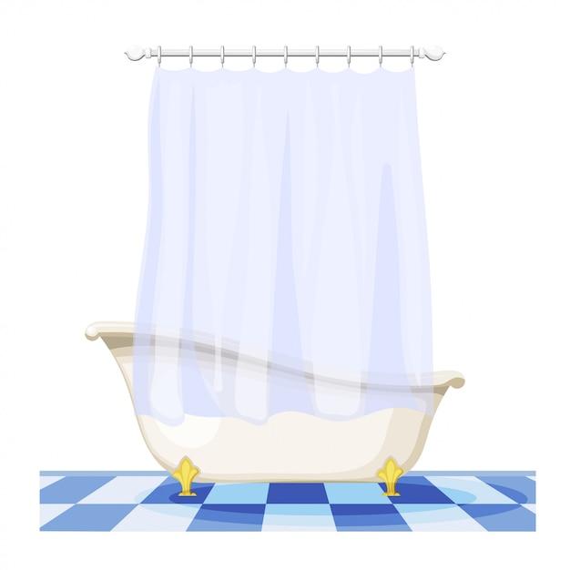 タイル張りの床にカーテンとビンテージバスタブのイラスト。家具付きバスルーム。カーテン付きトイレ、衛生施設 Premiumベクター