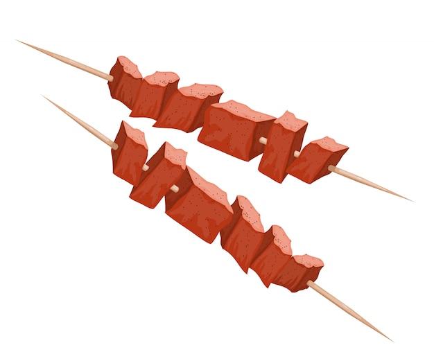 Иллюстрация кебаб на деревянных шпажках. мясо на гриле. мультяшный стиль шашлык. мясная еда. традиционное мясное блюдо в огне Premium векторы