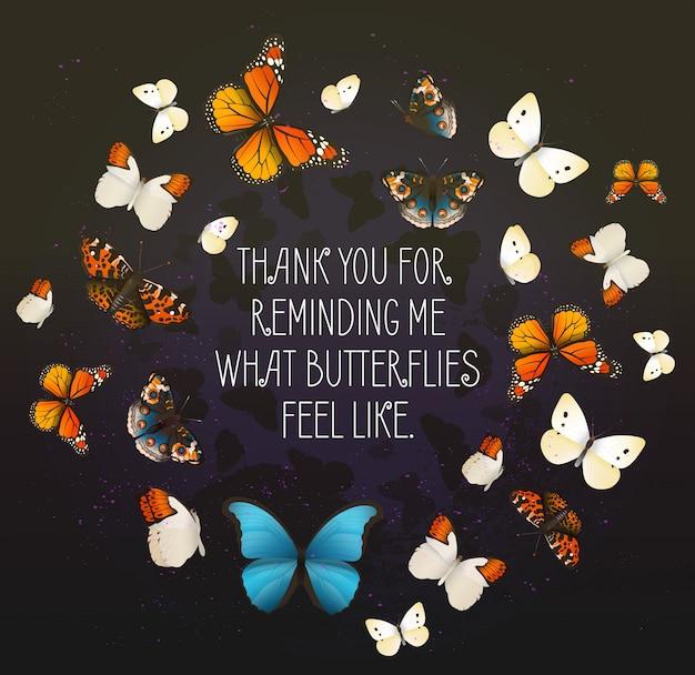 円で飛んでいる蝶と創造的なベクトルの心に強く訴えるカード。ロマンチックな夜の背景。 Premiumベクター