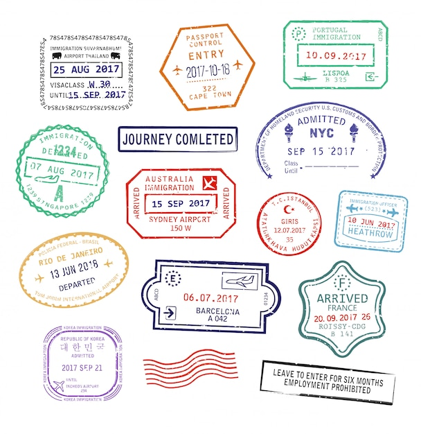 Набор изолированных визовых паспортных штампов для поездки в сша, город сидней в австралии или франции Premium векторы
