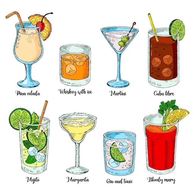 Алкогольные напитки установлены. набор изолированных красочный эскиз коктейлей. Premium векторы