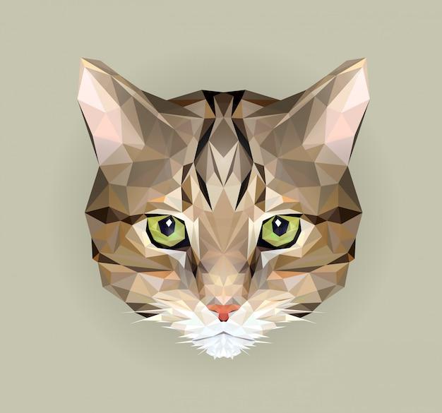 Кот в стиле многоугольника. иллюстрация треугольника животного для пользы как печать на футболке и плакате. геометрическая низкая поли дизайн иллюстрация. значок кота. Premium векторы