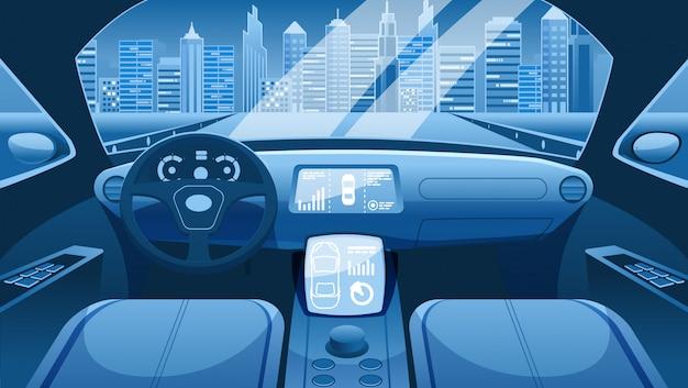 Дизайн интерфейса электромобиля. приборная панель электромобиля умного автомобиля. виртуальный контроль городских автомобильных дорог. электромобиль. салон автомобиля салон. Premium векторы