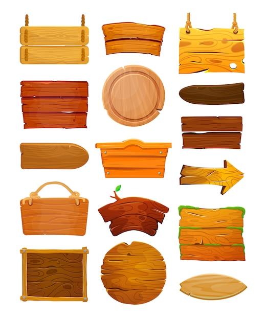 Мультфильм набор деревянных знаков Premium векторы