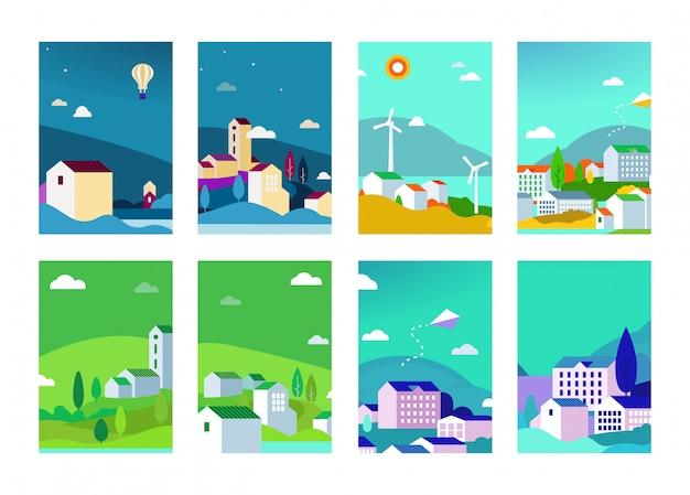 Векторный набор городских фонов пейзажей со зданиями и деревьями Premium векторы
