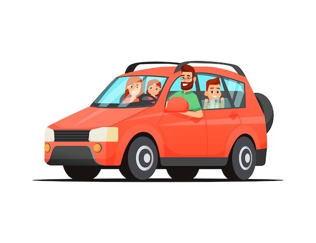 若い家族は、赤い車で旅行します。車で旅行する幸せな家族父、母、息子、娘。 Premiumベクター