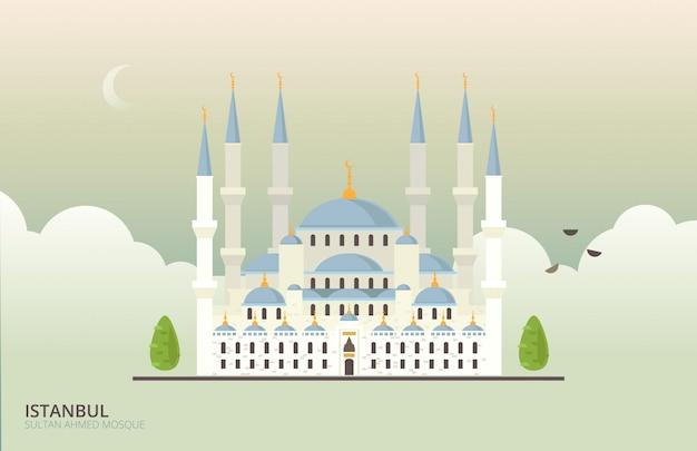 イスタンブールのモスクの歴史的建造物 Premiumベクター