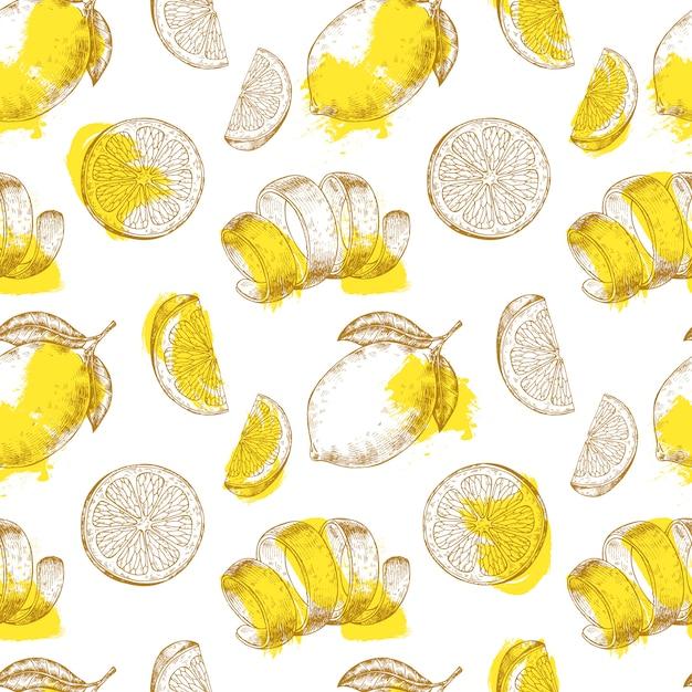新鮮なレモンフルーツのパターン Premiumベクター